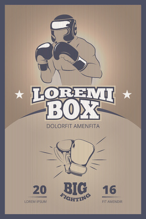bout: Boxing competition vintage vector poster. Boxing banner, boxing vintage fight, boxing champion illustration