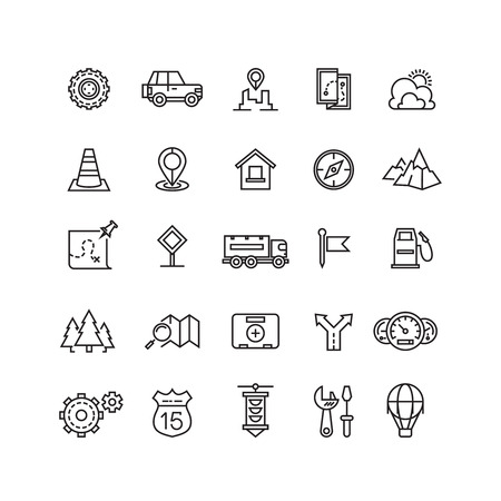 Reise, Autobahnverkehr, Ortsvektor lineare Symbole gesetzt. Transport Verkehr linear Symbol und Verkehr Reisen, Verkehr icon