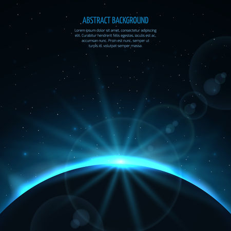 sun rising: Abstract vector space fantastic background with planet and rising star. Planet and star sun, earth in galaxy sun rising, ray rising sun illustration
