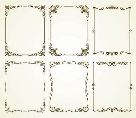 Vector vintage calligraphic frames set. Vintage frame, calligraphic frame decoration, ornate frame retro illustration