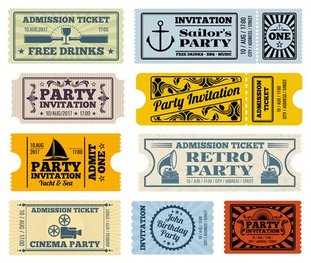 Retro party, cinema, invitation vector tickets set. Invitation ticket, retro ticket cinema, event ticket paper template illustration