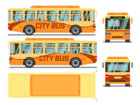 autobus: Urban, city bus in different view positions. City urban bus, transport bus, public bus. Vector illustration