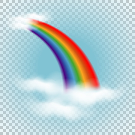 Rainbow In Clouds Wave Color Striped Curve Vector Illustration