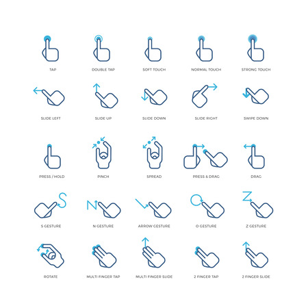 zoom: Touch gestures vector icons. Gesture press finger, gesture touch hand, gesture tap and rotate illustration Illustration