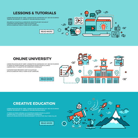 staff training: Online education, on-line training courses, staff training, web tutorials vector banners set. Online knowledge teaching, study online page, online course illustration Illustration