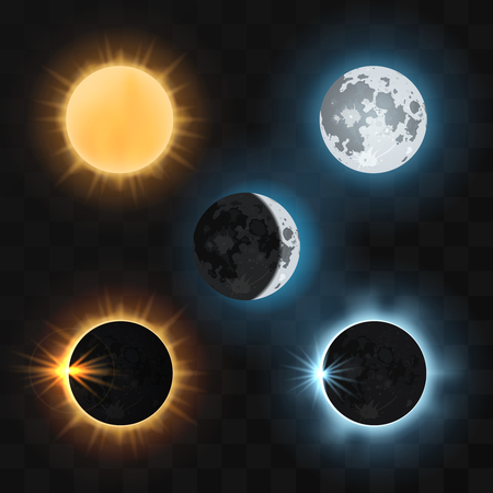 eclipse: Sun and moon and sun and moon eclipses. Sun eclipse, moon eclipse, dark eclipse sun or moon, nature eclipse sun and moon. Vector illustration Illustration