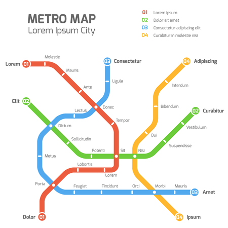 Subway vector map template. City metro transportation scheme. Information metro map, station metro map, underground metro illustration Vettoriali