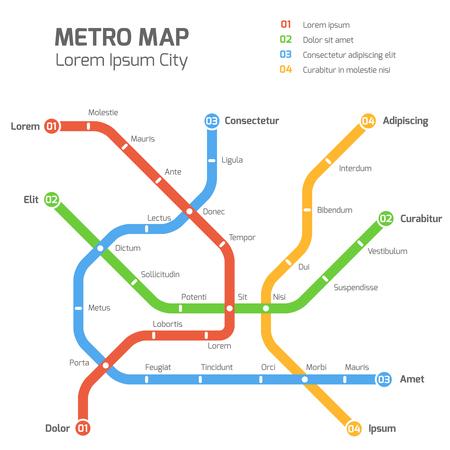 Subway vector map template. City metro transportation scheme. Information metro map, station metro map, underground metro illustration Stock Illustratie