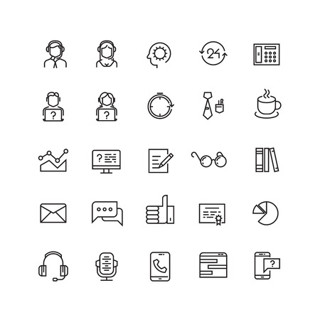 Support service, telemarketing, contact us vector line icons. Support contact, support icon, support help illustration  イラスト・ベクター素材