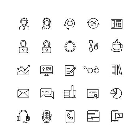 Support service, telemarketing, contact us vector line icons. Support contact, support icon, support help illustration Ilustração