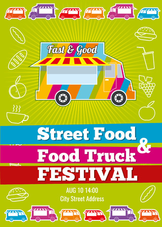 Vector poster with wagon full of tasty summer food, meals, drinks and fruits. Banner food festival, design event food truck, tasty food truck illustration Çizim