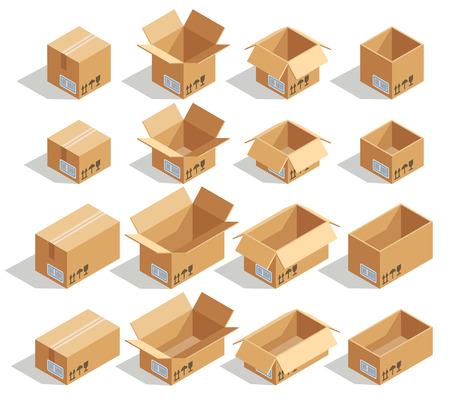 Boîtes en carton isométrique de vecteur. Carton de boîte, paquet de boîte, emballage de boîte, icône de boîte, illustration isolée de boîte
