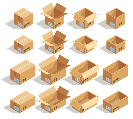 Vector isometric cardboard boxes. Box cardboard, box package, box packaging, box icon, box isolated illustration