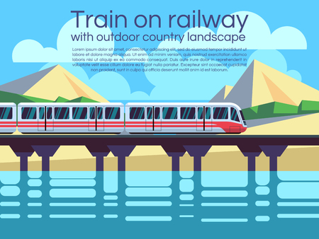 scenics: Train on railway with outdoor country landscape. Vector travel concept background. Train outdoor, transportation train, travel train illustration Illustration