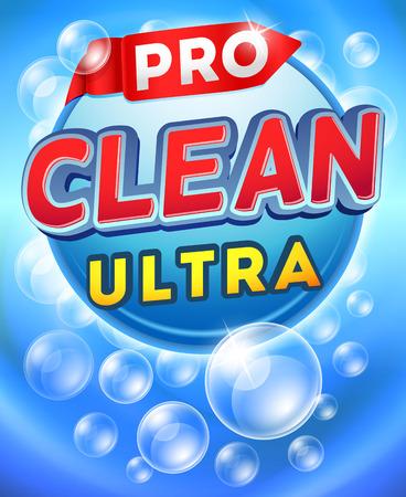 envase del detergente diseño de la plantilla de vectores. Marca polvo detergente, limpiador detergente etiqueta, muestra la ilustración de detergente de cartón