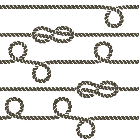 horizontally: Navy rope with marine knots vector seamless pattern. Rope repetition, nautical rope knot seamless, endless rope horizontally pattern illustration
