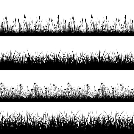 field flowers: Seamless wild herbs, flowers and grass silhouettes vector set. Grass plant pattern, meadow grass and flower field, seamless flower and grass lawn, decoration line grass and flower illustration