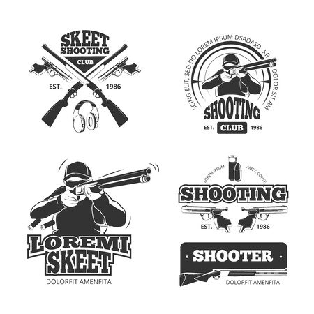 shooting: Retro weapons, shooting vector labels, emblems
