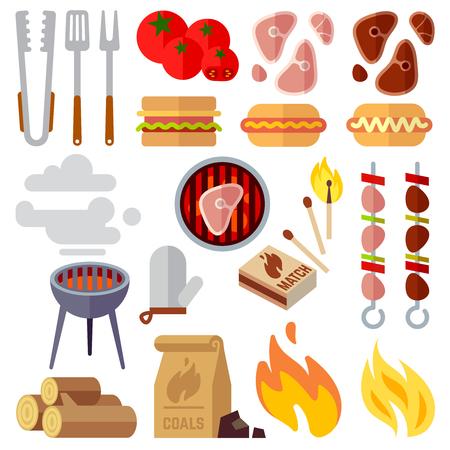 woodpile: Summer picnic, barbecue and grilled food steak vector icons. Grill barbecue, summer barbecue picnic, barbecue cooking illustration