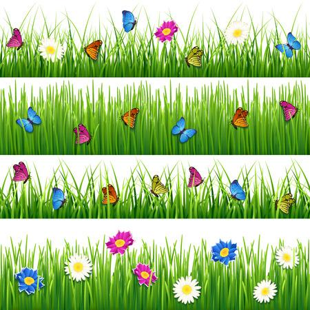 field flowers: Green grass with flowers and butterflies. Seamless vector grass set. Flower and butterfly in grass seamless, nature flower and grass plant, meadow or field grass with flower and butterfly illustration