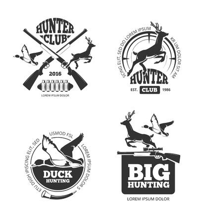 wildlife shooting: Vector retro vintage hunting labels, emblems Illustration