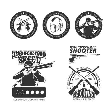 gun Vintage, pistolet club vector labels, emblèmes