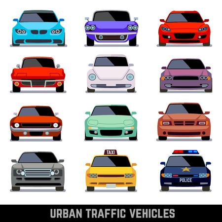 도시 교통 차량, 평면 스타일의 자동차 아이콘. 모델 자동차, 경찰 차 및 차량 도시 자동차입니다. 벡터 일러스트 레이 션 일러스트