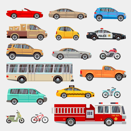 Urban, city cars and vehicles transport vector flat icons set. Car vehicle, car transport, taxi and car transportation illustration Vector Illustration