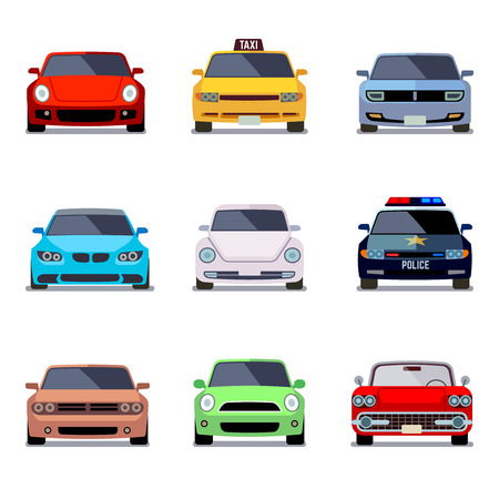 car speed: Car flat vector icons in front view. Car transport, auto car, vehicle car speed illustration