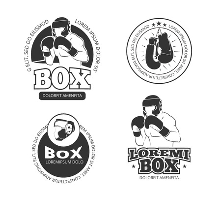 Boxing vector retro labels set. Sport boxing, glove boxing badge, label boxing illustration