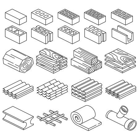 Building construction materials. 3D isometric icons. Material iron construction, roof material for construction, construction supplies. Vector illustration