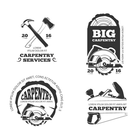 woodwork: Vintage woodwork, sawmill vector labels, logos, badges and emblems. Badge industry woodwork and service logo carpentry or woodwork illustration