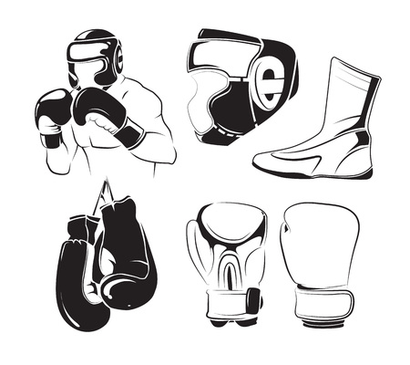 Vector elements for vintage boxing emblems, labels, badges, logos. Fight boxing and sport boxing training for competition illustration