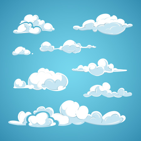 clouds cartoon: Cartoon clouds vector set. Cloud nature design element and collection clouds in air illustration Illustration