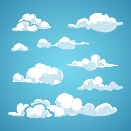 nubes caricatura: Conjunto de dibujos animados vector de nubes. Nube de elementos de diseño de la naturaleza y de recogida de las nubes en la ilustración de aire
