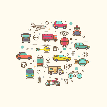 dirigible: Vehicle and transport icons in circle design. Transportation vector concept with thin line style icons. Vehicle transport composition, bicycle lorry and bus for road travel transport illustration Illustration