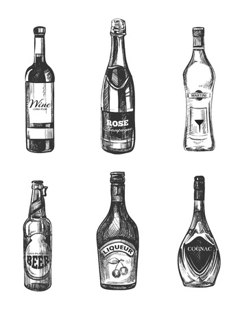 alcoholic drink: Alcoholic drinks in sketch hand drawn style. Alcohol drink for  restaurant menu, hand drawn bottle alcohol. Vector illustration