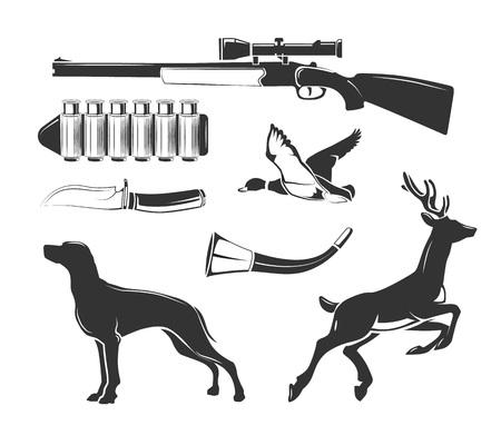 wildlife shooting: Vector elements for vintage hunting club vector labels, logos, emblems set. Emblem badge for hunting, logo element huntong club illustration