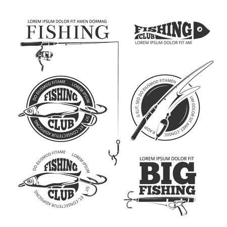 Vintage vissen vector labels, logo's, emblemen instellen. Hobby vissen logo en logotype vissen met spinnen en vlotter illustratie