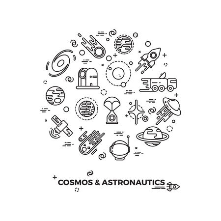 asteroid: Planets, space and rocket vector icons. Comet and asteroid in space, travel flight space cosmic illustration Illustration