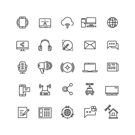 mobile communication: Media and communication line vector icons. Communication media web internet, mobile technology for communication illustration
