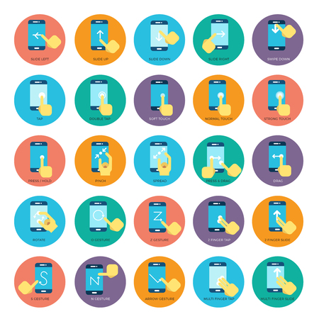 gesture set: Gesture flat smart phones vector icons. Hands holding smartphone. Set of gesture for touchscreen device, icon finger gesture illustration