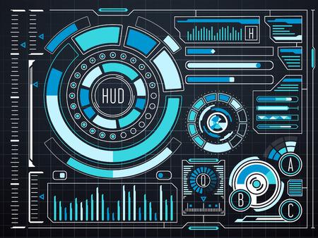 touch screen interface: Sci-fi futuristic virtual graphic touch user interface HUD. Future interface digital hud and dashboard screen virtual hud. Vector illustration