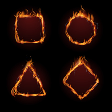 inferno: Hot fire flame frame vector set. Fire heat burn and inferno fire form illustration Illustration