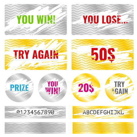 scratch card: Scratch card game, scratch and win lottery vector elements. Lottery luck or lose, coupon chance win and card template lottery illustration