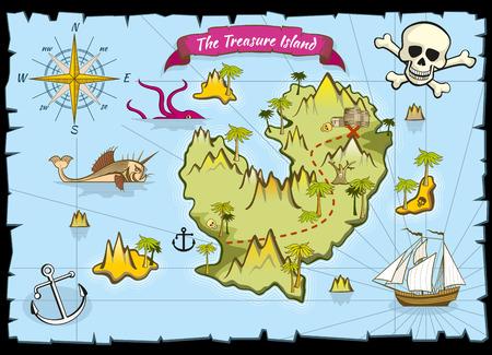 Vector pirate treasure color map. Pirate map and adventure sea, explore map with treasure illustration