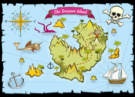 Vector piratenschat kleur kaart. Pirate map en avontuur op zee, verkennen kaart met schat illustratie