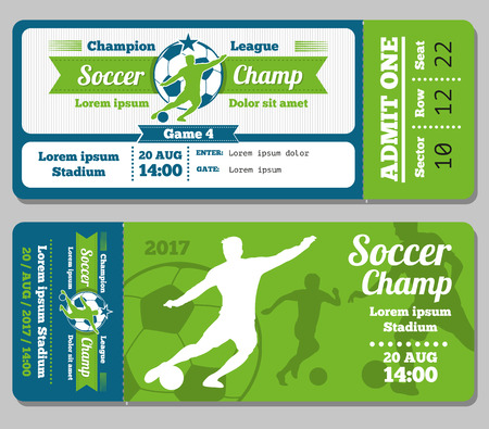 Football, soccer vector ticket template. Footbal ticket and soccer sport, ticket for game with ball illustration Vetores