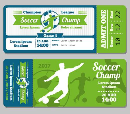 footbal: Football, soccer vector ticket template. Footbal ticket and soccer sport, ticket for game with ball illustration