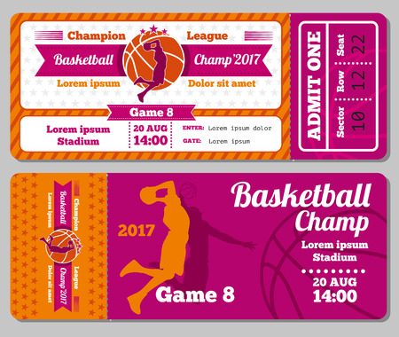 champ: Modern basketball ticket vector template. Ticket for stadium to basketball play match. Competition tournament and basketball champ game illustration